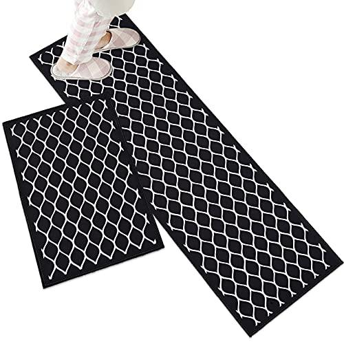 DDK Küchenteppiche 2 Stück, Küchenläufer Küchenfußmatten rutschfeste, Küchenmatten Badteppich Wasseraufnahme, Teppiche und Läufer für Drinnen und Draußen #4 40x60+40x120cm