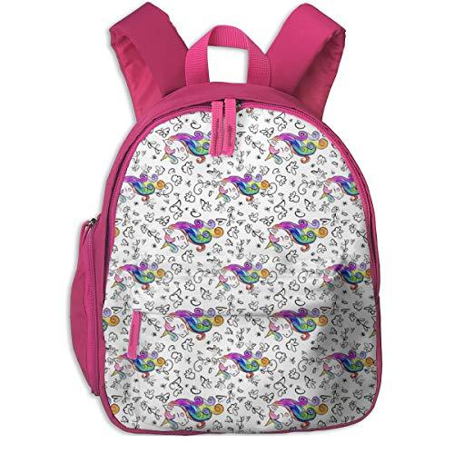 Zaino per bambini 2 anni,Unicorn Queen With Flowers (Ruotato) _2394 - theartwerks, Per scuole per bambini Oxford cloth (rosa)