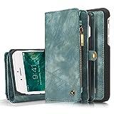 """iPhone 8 Plus Wallet Case, iPhone 7 Plus Case, XRPow Durable Wallet 2In1 Detachable Magnetic Shock Cover 11 Card Slots & 3 Cash Pocket Premium Folio Flip Zipper Purse Case 5.5"""" (Blue)"""
