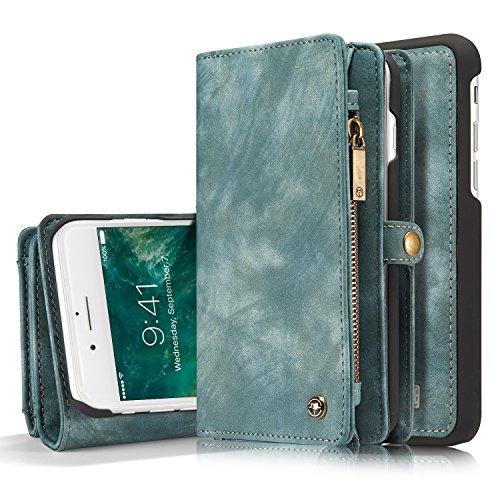 iPhone 8 Plus Wallet Case, iPhone 7 Plus Case, XRPow Durable Wallet 2In1 Detachable Magnetic Shock Cover 11 Card Slots & 3 Cash Pocket Premium Folio Flip Zipper Purse Case 5.5' (Blue)