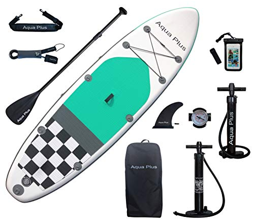 Aqua Plus 10ft6inx33inx6in Inflatable SUP for All Skill Levels Stand Up Paddle Board, Adjustable Paddle,Double Action Pump,ISUP Backpack, Leash, Shoulder Strap,Adult/Youth Inflatable Paddle Board
