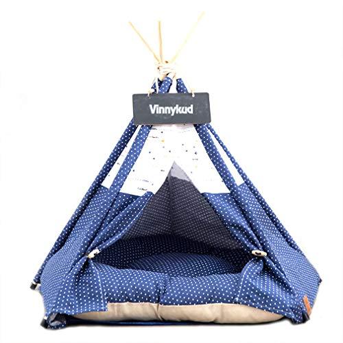 Sunnykud Mascotas Teepee Perros Tienda de campaña de rayas patrón de cebra extraíble y lavable, Tienda de campaña para perros o gatos con cojín (S: 40 x 40 x 50 cm, azul marino)