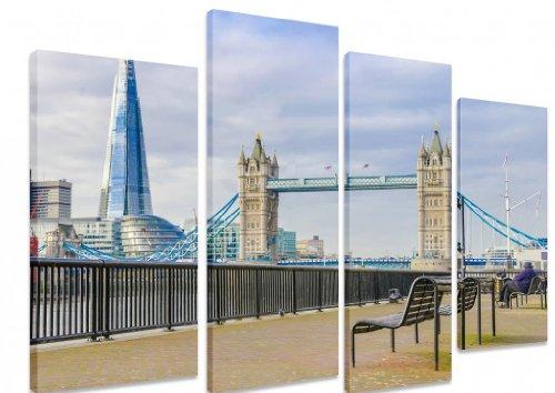 """Multi Split Panel arte en lienzo Art–la vista de London Bridge y puente de la torre de Londres Río Támesis Skyline Famous Landmark–Art Depot Outlet–4Panel–101cm x 71cm (40""""x28"""")"""