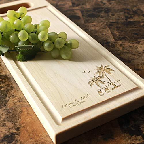Beach Palm Trees Destination Wedding Personalized Cheese Board - Wedding Gift, Bridal Shower Gift, Destination Wedding. #409