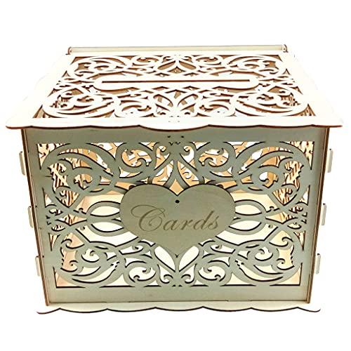 Alnicov - Scatola per biglietti di nozze, in legno, con slot per blocco, per matrimoni, ricevimenti, anniversari, feste di compleanno, laurea, decorazione per feste