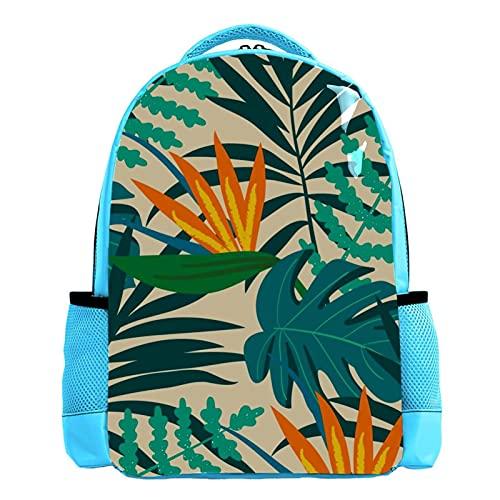Mochila de viaje para hombre, diseño de hojas tropicales, color azul
