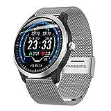 AKL Smart Watch IP67 Bluetooth Impermeable a Prueba de Agua Presión Arterial Smart Watch Fitness Round PPG + ECG Reloj Recordatorio de Llamadas,A
