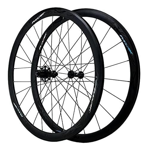 ZCXBHD 40MM Juego Ruedas Bicicleta 20/24 H 700C QR Llanta De Aleación Aluminio De Doble Pared Freno C/V para 7 8 9 10 11 12 Velocidad (Color : Black, Size : 700C)