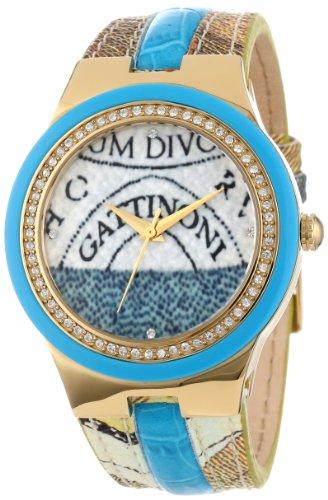 Gattinoni orologio da donna in acciaio INOX placcato oro W0223GGTLBL Meissa Planetarium progettato pietre zircone Band orologio