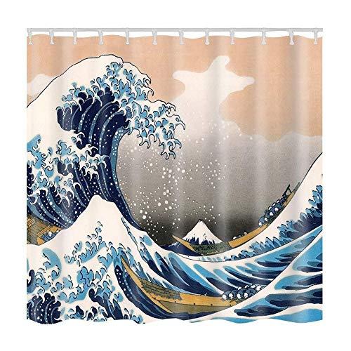 Badkamer Shower Curtain Sea Creature Landschap Douchegordijnen Stof Badkamer Gordijn Duurzaam waterdicht en Schimmelbestendig Bath Curtain Sets Met 12 Haken (90x180cm)