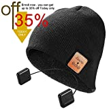 Bluetooth Beanie Hat,Topple Wireless 4.1 Superior Headphone Beanie Hat HD Stereo Earphone Speaker &Mic,Unisex Washable Men Women Winter Outdoor Fitness (TB100B-Black)