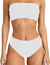 MOSHENGQI Bandeau Bikini Set Marble Printed High Cut Strapless Swimsuits for Women