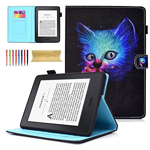 Dteck Schutzhülle für Kindle Paperwhite 3 / 2 / 1, dünnes PU-Leder, mit Standfunktion, 15,2 cm (6 Zoll) (alle Modelle 2012 2013 2014 2015 und 2016) #1 Pussy Cat