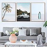 Playa Marina Poster Escandinavo Pared Arte Palma áRbol Impresiones Coche Paisaje Lienzo Pintura Sala De Estar HabitacióN Cuadros Decoracion 40x60cmx3 Sin Marco