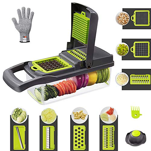 Vegetable Chopper, Onion Chopper, Mandoline Slicer, Kitchen Multi-Function Dicer Julienne Slicer Cutter Cuber for Onion Tomato Potato Garlic Veggie Fruit Food