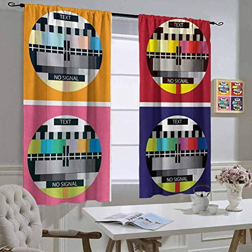 Mozenou Modern Curtain Kitchen Window Television Radio Channel Signal Digital Sign in Four Collage Artwork Image Print The Best Choice for Bedroom and Living Room 55x45 Inch Multicolor