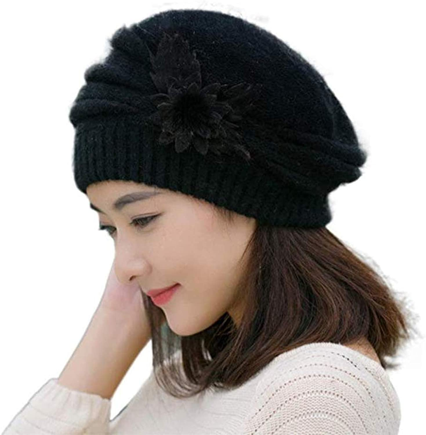 C.CUS Women's Winter Beret Hat Fleece Lined Soft Warm Beanie Cap with Flower Accent
