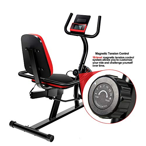Vanswe Recumbent Exercise Bike 16 Levels Resistance 380 lbs. Recumbent Stationary Bike with Adjustable Seat, Transport Wheels and Bluetooth Connectivity for Seniors Workout (Red/Black)