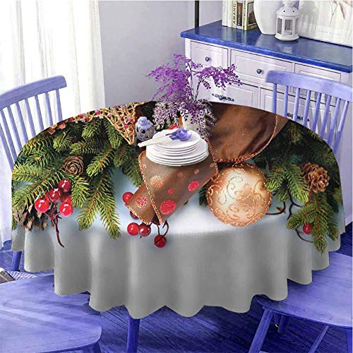 Christmas Round tablecloth modern Pine Cones with Garland Tree Topper Star Mistletoe and Swirled Ornate Elements Quick wipe Diameter 63 inch Multicolor