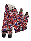 Tirantes para pantalones,Reino Unido,Inglaterra, ,35 mm de ancho, con 4 clips en forma de H,tirantes elásticos ajustables con fuerte clip de metal,para fiestas,carnaval,carnaval (Inglaterra)