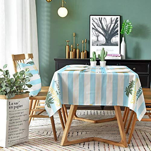 SJXCDZ Rectangle Decorative Table Cover, Blue and white striped coconut print Washable Picnic Cloth