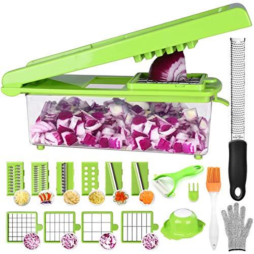 Mandoline Cuisine Acier Inoxydable - 24 Pcs Multifonction Coupe-légumes (Avec Boîtes De Rangement) Decoupe à Oignons Couper en dés/émincer/gratiner [ Zesteur Râpe Libre]