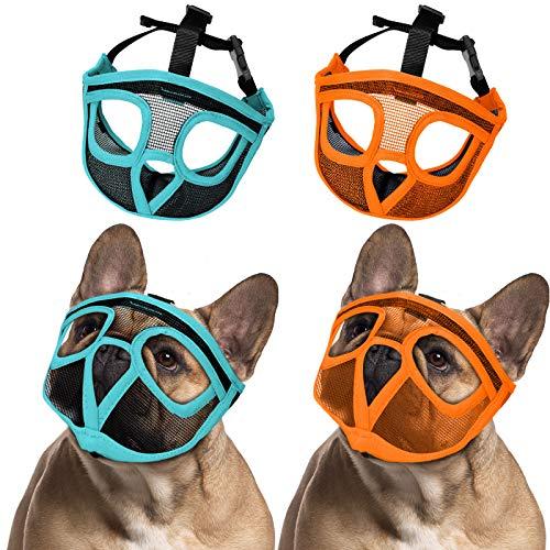 Weewooday 2 Pieces Bulldog Muzzle Dog Short Snout Mesh Mask French American Short Nose Adjustable Breathable Barking Biting Chewing Training for Small Medium Large Dog (Lake Blue, Orange,M)