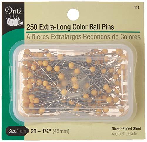 Dritz Lors de 250 épingles à tête Ronde colorée en Acier Extra Longue Taille 28