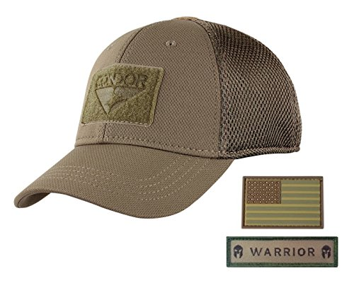 Condor Flex Mesh Cap (Brown) + PVC Flag & Warrior Patch, Highly Breathable Fitted Tactical Operator Hat (L/XL)