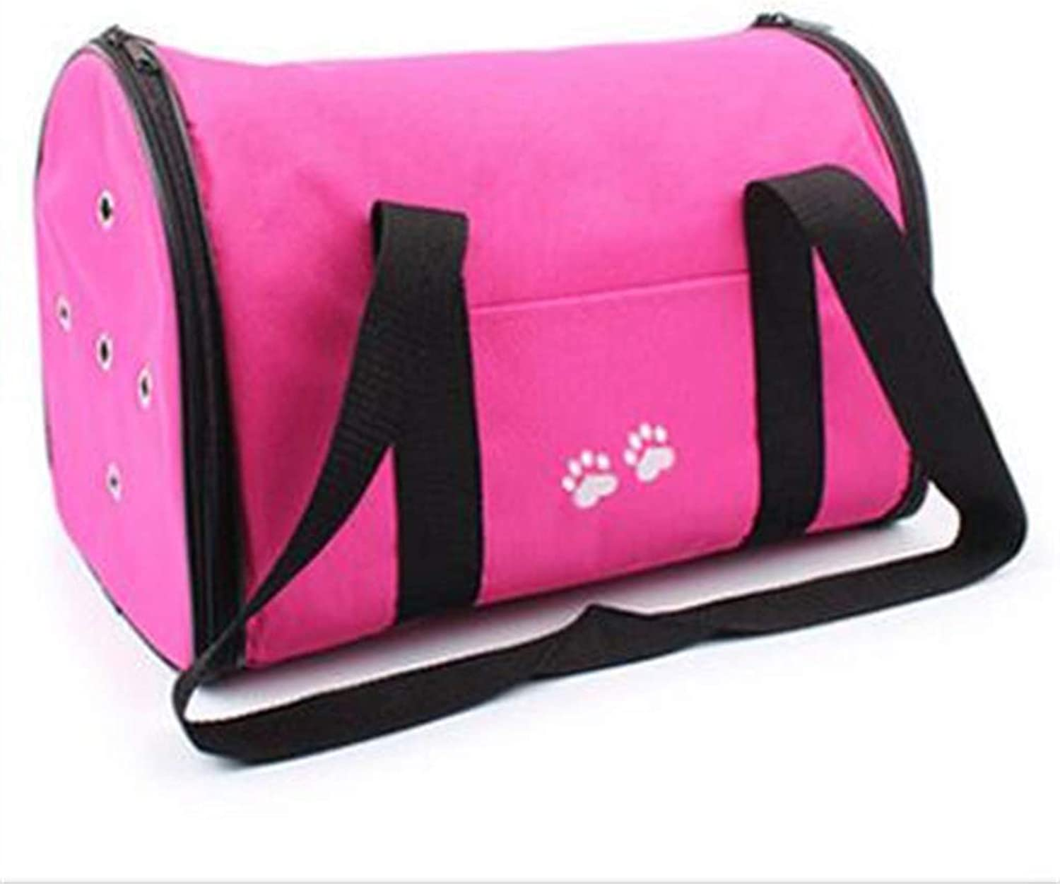 Pet Single Shoulder Bag Full Enclosed, Portable Oxford Cloth Footprint Fabric, Teddy Outbound Travel Bag, Cat Cage Pet Supplies Pink