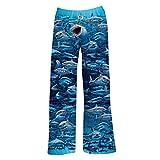 American Mills Men's Shark Lounge Pants - Blue Fish Print Adult Pajama Bottoms - Large