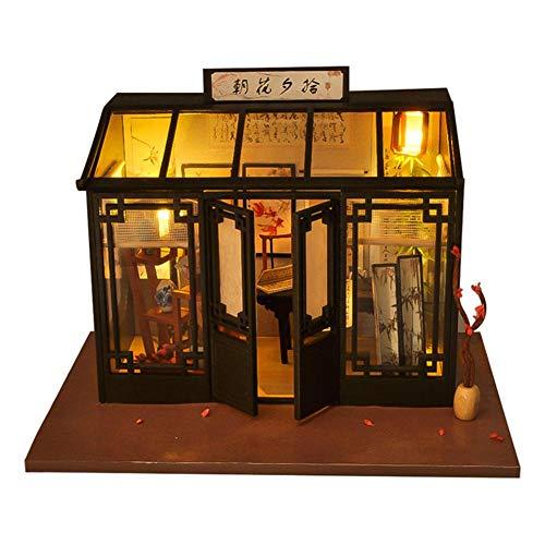 youngfate Puppenhaus Mini Holzhaus Miniatur Bausatz Puppenhaus mit Licht Kunsthandwerk Geschenk für Valentinstag, Kindertag, Weihnachten, Hochzeit, Geburtstag