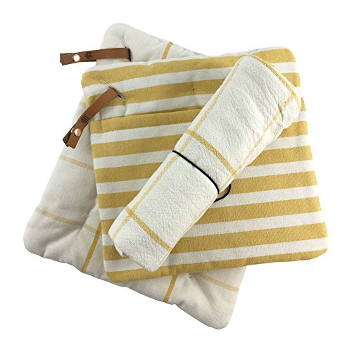 Hearth and Hand with Magnolia, Striped and Grid Pattern Pot Holder (Set of 2) with Large Flour Sack Kitchen Dish Towel Set, Golden Yellow and White, 100% Cotton