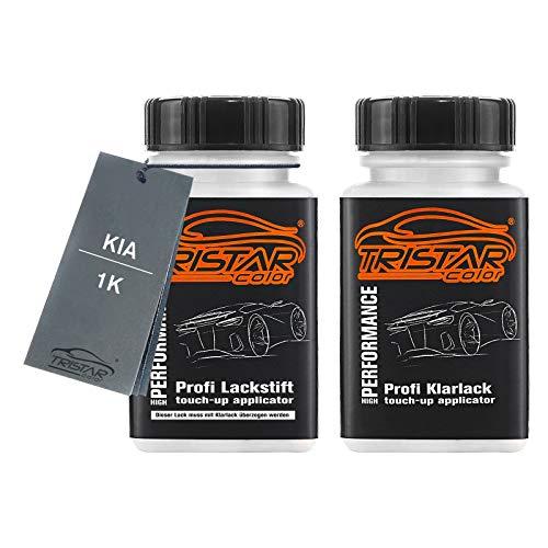 TRISTARcolor Autolack Lackstift Set für KIA 1K Zilinaschwarz Metallic Basislack Klarlack je 50ml