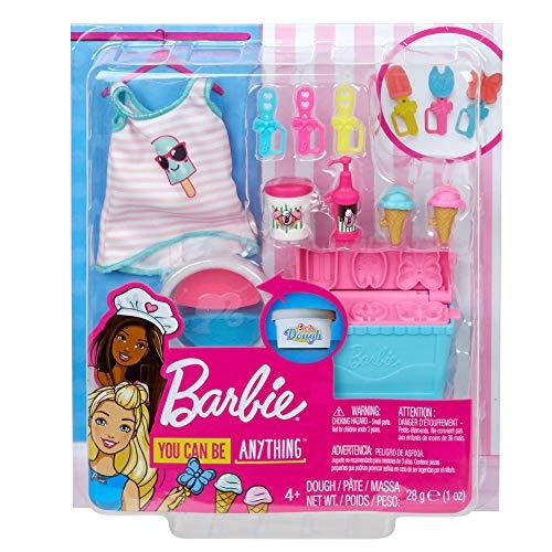 Barbie- Playset Cucina e Cottura Gelato con Accessori e Abiti Giocattolo per Bambini 3+ Anni, GHK40