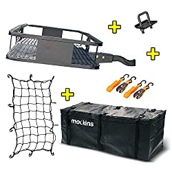 """Mockins Steel Cargo Basket   60"""" L X 20"""" W X 6"""" H Hitch Mount Cargo Carrier with Cargo Bag and Net   with a Hauling Weight of 500 lbs & a Folding Arm to Preserve Space When Not in Use"""