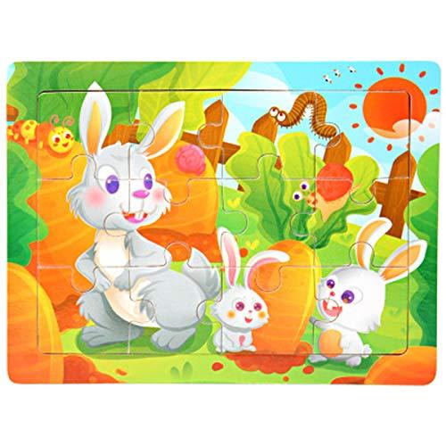 DEDC 12Pcs Puzzles de Madera, Animales Rompecabezas de Madera Coloridos para Niños Pequeños Aprendizaje Rompecabezas Educativos Juguetes para Niños y Niñas 3-6 Años de Edad (Conejo)