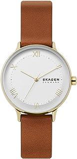 ساعت مچی کوارتز استیل ضد زنگ نایلسون Skagen با بند چرمی ، قهوه ای ، 16 (مدل: SKW2877)