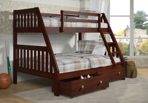 DONCO Bunk Bed Twin Over Full Mission Style-Dark Cappuccino Finish-Includes Drawers!!!