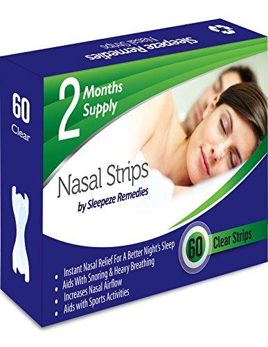 Tiras nasales claro x60 | Dilatador nasal Sleepeze Remedies para dejar de roncar y ayudar a breathe | Tiras nasales anti ronquidos