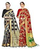 Paquete de 2 sari para mujer Banarasi Art Silk Woven Indian Gift Sari | Boda sari con blusa sin costura