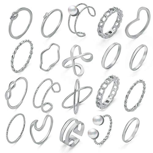 20 Pcs Vintage Knuckle Stackable Rings Set for Women, Bohemian Gold/Silver Plated Comfort Fit VSCO Wave Joint Finger Rings Gift (Silver)