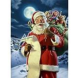 YHZSML Kit De Bordado Al Diamante 5D_Navidad Santa Claus Diamond Painting Kits_Cristal Rhinestone Gran Taladro Bordado Diamante Pintura Mosaico Decorativo 40x50cm