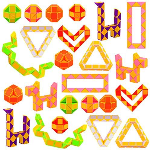 Sunshane 24 Stück 24 Blöcke Mini Snake Cube, Magic Snake Speed Cubes, Twist Puzzle Spielzeug für Kinder Party Bag Füllstoffe, Party Supplies, zufällige Farbe