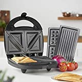 MisterChef® Dual Sandwich Toaster Maker, Waffle Maker, Non-Stick Removable Plates, 3 in 1 Red and Green LED Indicator Lights, Automatic Temperature Control, Anti-Skid Feet, Cool Touch Handle, Black,