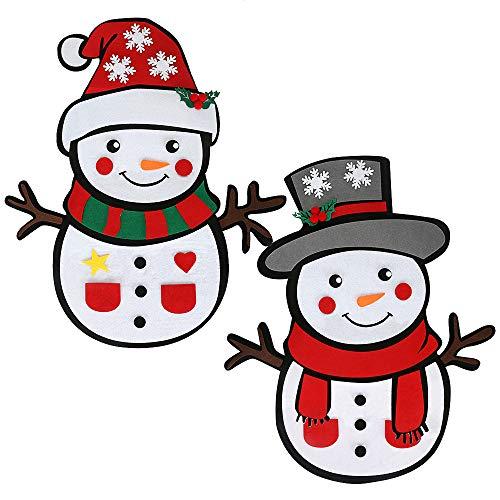 Brynnl Juego de muñeco de Nieve de Navidad de Fieltro, 2 Paquetes Juego de muñeco de Nieve de Navidad de Fieltro...