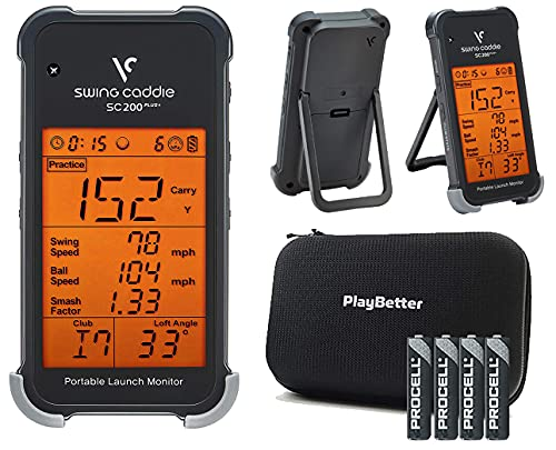 Swing Caddie SC200 Plus+ Portable Golf Launch Monitor by Voice Caddie Bundle with PlayBetter Protective Hard Case & Extra AAA Batteries (4-Pack) | Doppler Radar | Smash Factor, Barometric Pressure