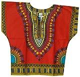 Decoraapparel Kids Traditional Dashiki Shirt Unisex African Boys Printed Dashiki Girls Blouse One Size (Red...