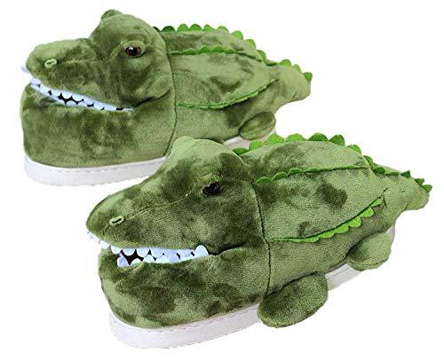 Zapatilla Unisex para Animales Adultos, Zapatillas de Invierno Elefante cálido/Jirafa/Koala/Hámster/Conejo, Zapatos de Felpa casera de Dibujos Animados (35/38 EU,Crocodile)