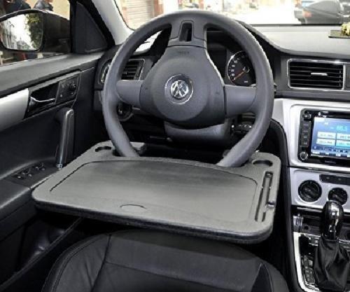 kkone Auto Laptop Tray Table Stand Steering Wheel Mount Car SUV Truck Desk Travel (Black)